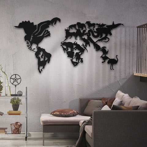 Wild Life - Metal Dünya Haritası - Northshire - Poster - Dekorasyon - Ev Dekorasyonu - Wall Art - Metal Wall Art - Decoration