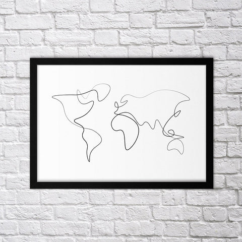 Minimal World Map - Northshire - Poster - Dekorasyon - Ev Dekorasyonu - Wall Art - Metal Wall Art - Decoration