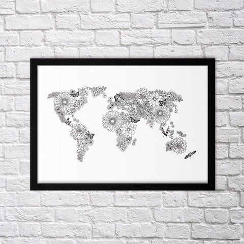 Floral World Map - Northshire - Poster - Dekorasyon - Ev Dekorasyonu - Wall Art - Metal Wall Art - Decoration