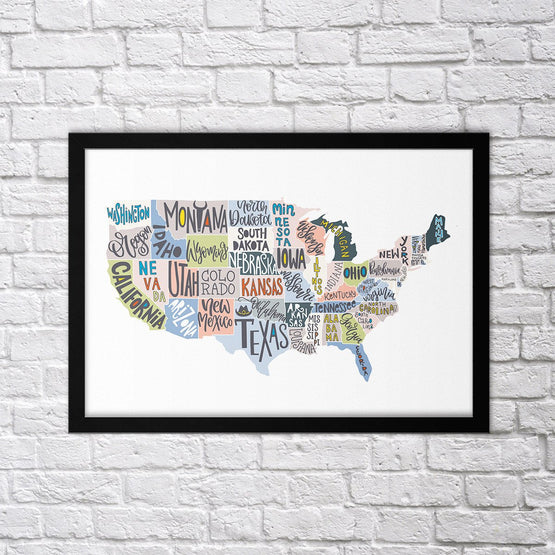 States Map - Northshire - Poster - Dekorasyon - Ev Dekorasyonu - Wall Art - Metal Wall Art - Decoration