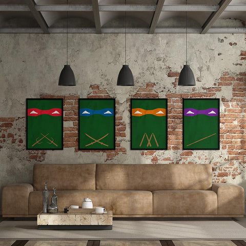 Ninja Turtles Set - Northshire - Poster - Dekorasyon - Ev Dekorasyonu - Wall Art - Metal Wall Art - Decoration