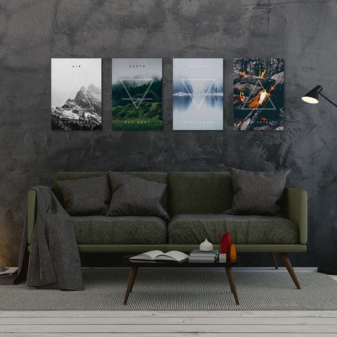 Four Elements - Metal Poster - Northshire - Poster - Dekorasyon - Ev Dekorasyonu - Wall Art - Metal Wall Art - Decoration