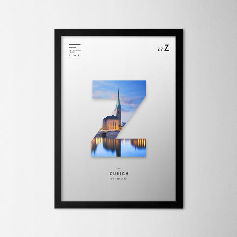 A to Z - Zurich - Northshire - Poster - Dekorasyon - Ev Dekorasyonu - Wall Art - Metal Wall Art - Decoration