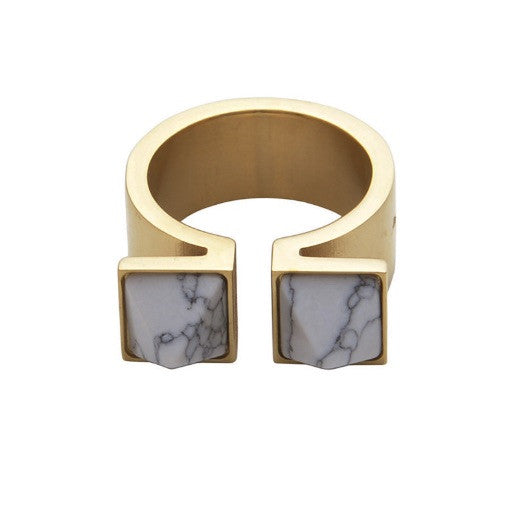 Double Pyramid Gold & Marble Ring