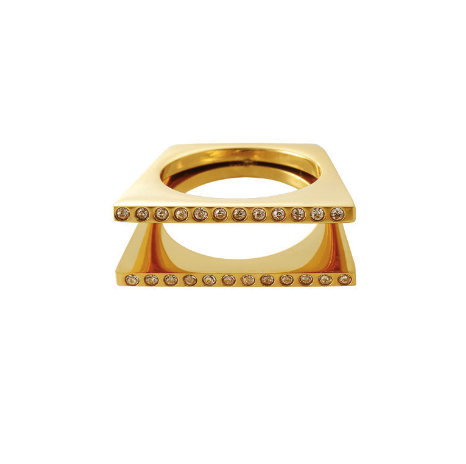 Double Cage Crystal Gold Ring