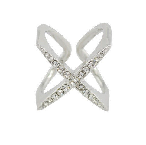 X Double Crystal Silver Ring