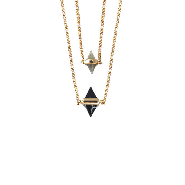 Calista Gold and Slate Layered Necklace