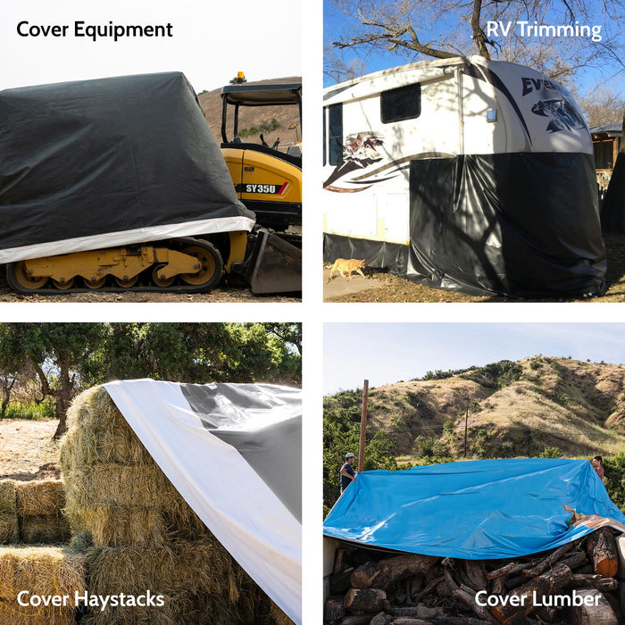 9' x 21' - Reused Vinyl Tarp (Black- No Pipe Sleeve)