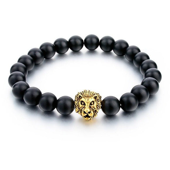 Natural Stone Gold Plated Lion Strand Bracelet In 7 Colors