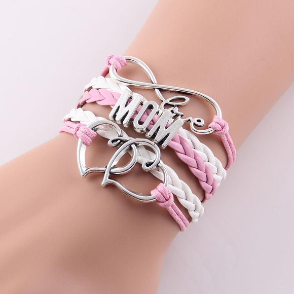 Infinity Love Mom & Grandma Heart Charms Wrap Leather & Rope Bracelet