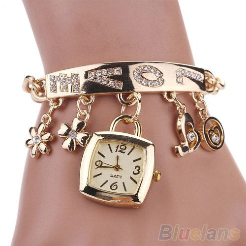 Stainless Steel Rhinestone Love Chain Bracelet With Wrist Watch and Charms
