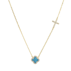 CELINA TURQUOISE CRYSTAL CLOVER AND CROSS GOLD NECKLACE