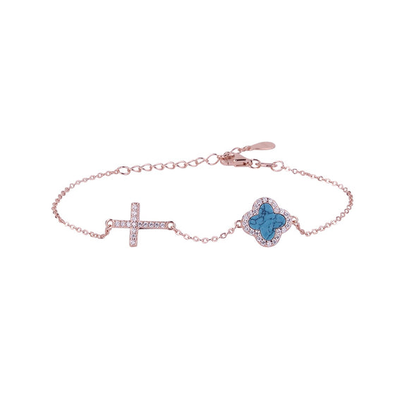 CELINA TURQUOISE CRYSTAL CLOVER AND CROSS ROSE GOLD BRACELET