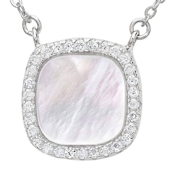 Mother of pearl square silver necklace