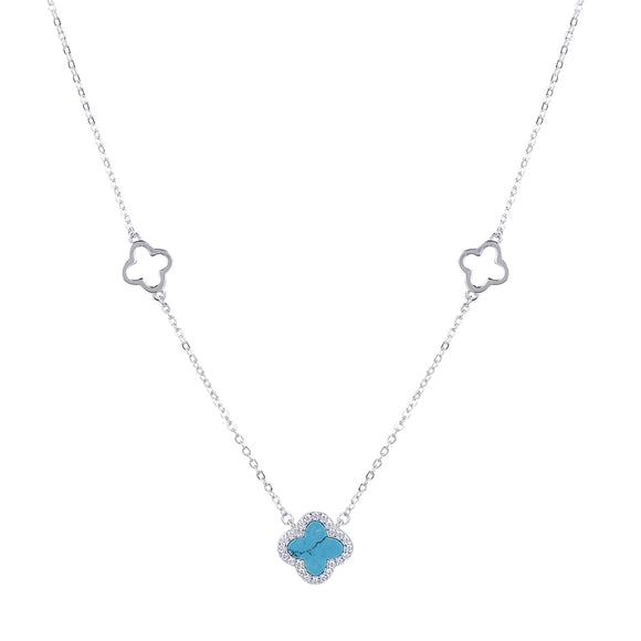 ARABELLA TURQUOISE CLOVER SILVER NECKLACE