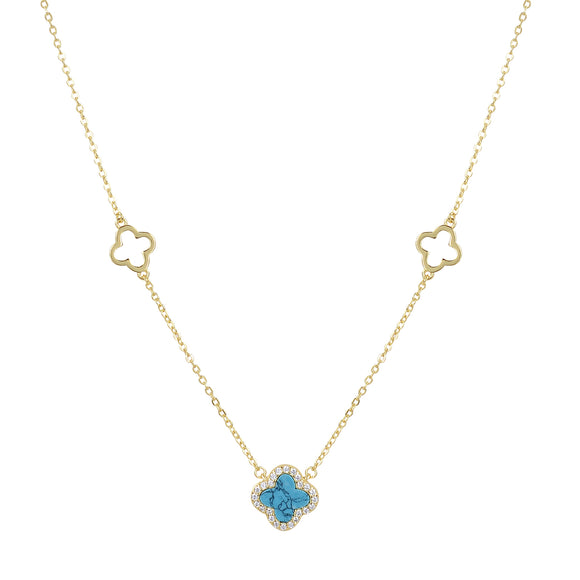 ARABELLA TURQUOISE CLOVER GOLD NECKLACE