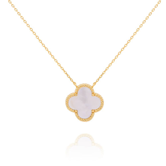 AMARA MOTHER OF PEARL CLOVER GOLD NECKLACE