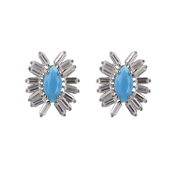 Turquoise baguette silver studs