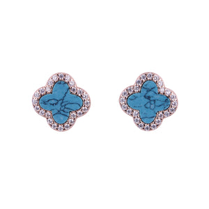 ARABELLA TURQUOISE CRYSTAL CLOVER ROSE GOLD EAR STUDS