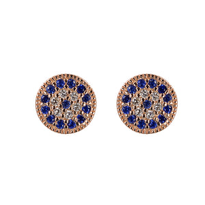Something blue evil eye rose gold studs