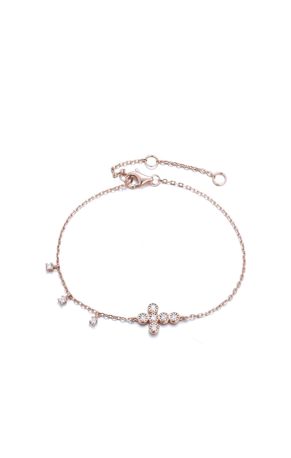 ALINA CRYSTAL MINI CROSS ROSE GOLD BRACELET