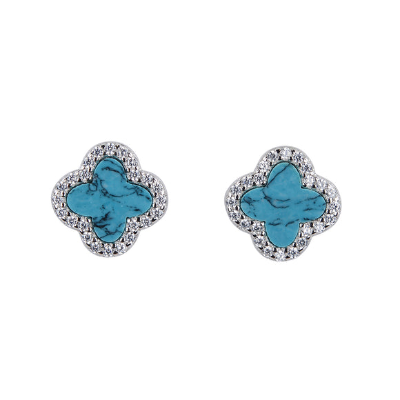 ARABELLA TURQUOISE CRYSTAL CLOVER SILVER EAR STUDS