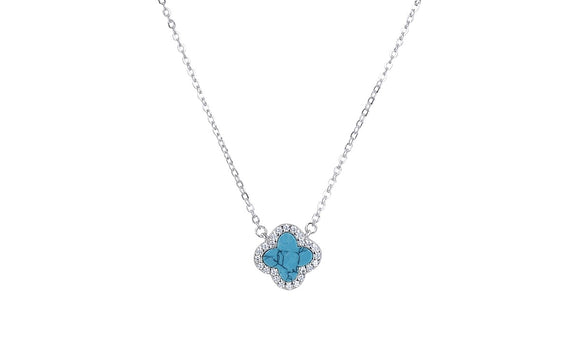 ZOE TURQUOISE CRYSTAL CLOVER SILVER  NECKLACE