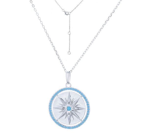 ALYAH TURQUOISE COMPASS SILVER NECKLACE