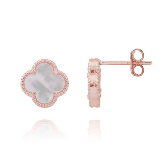 AMARA MOTHER OF PEARL CLOVER ROSE GOLD STUDS