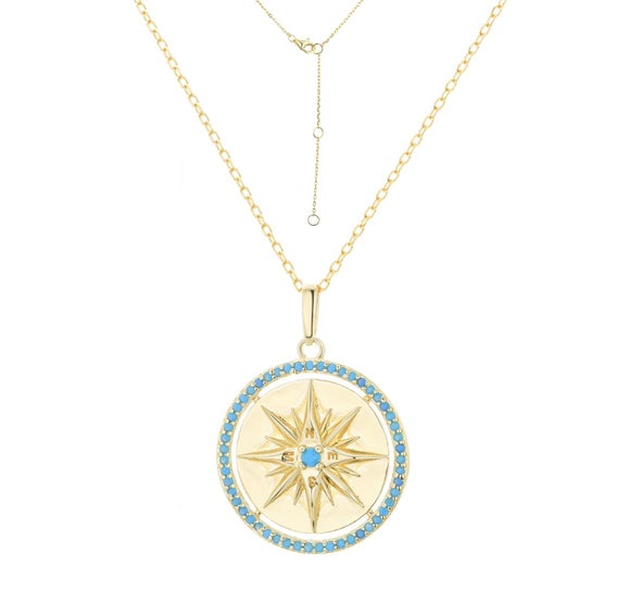 alyah gold turquoise compass necklace