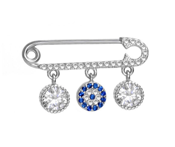 Baby Evil Eye Crystal Charm Pin