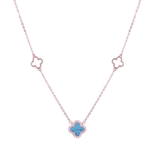 ARABELLA TURQUOISE CLOVER ROSE GOLD NECKLACE