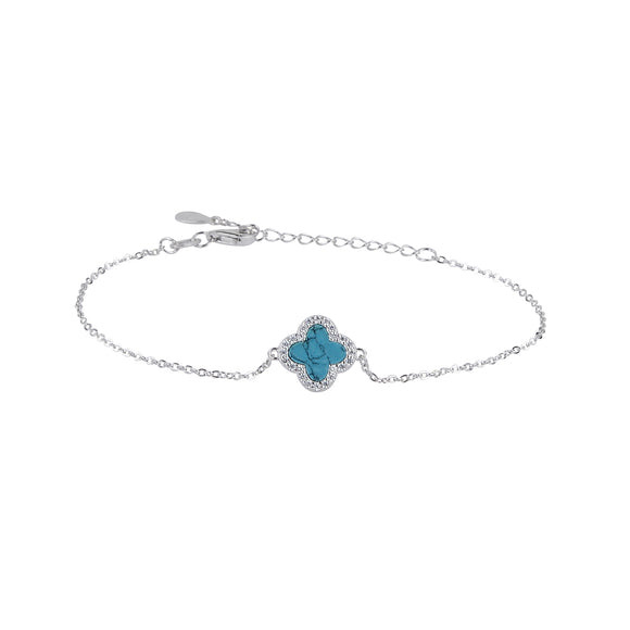 ZOE TURQUOISE CRYSTAL CLOVER SILVER BRACELET