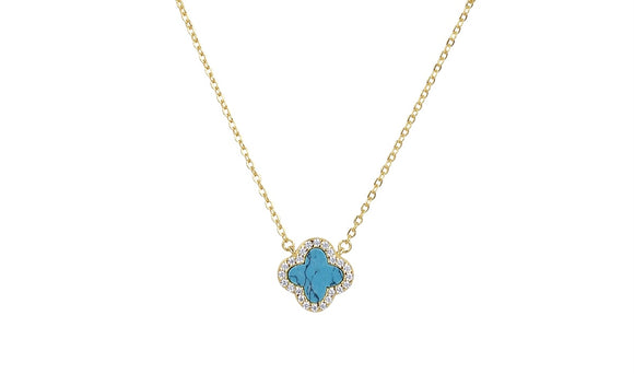 ZOE TURQUOISE CRYSTAL CLOVER GOLD NECKLACE