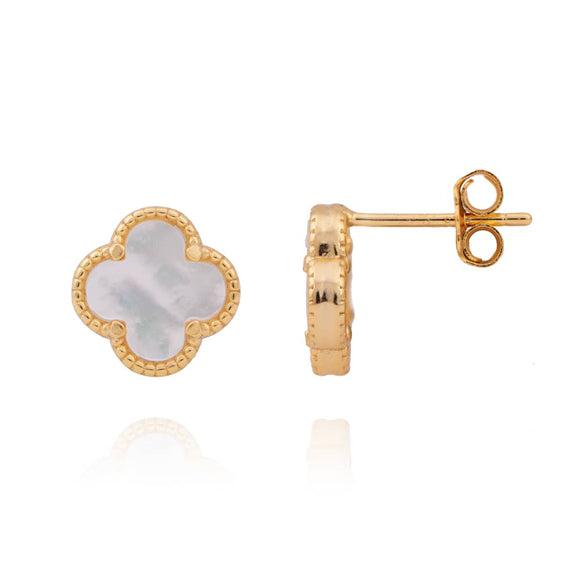AMARA MOTHER OF PEARL CLOVER GOLD STUDS