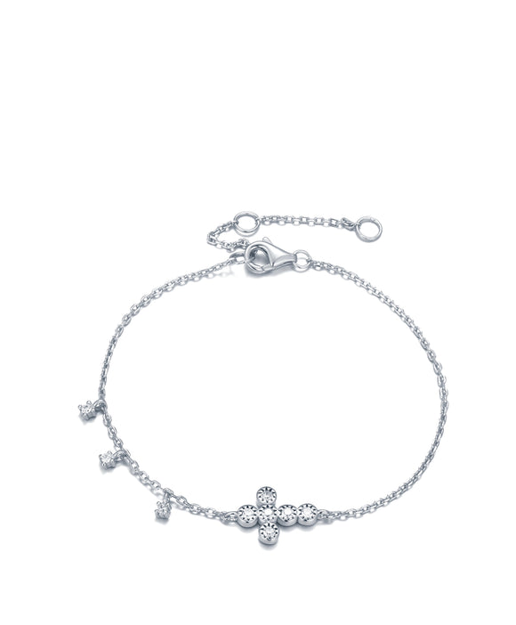 ALINA CRYSTAL MINI CROSS SILVER BRACELET
