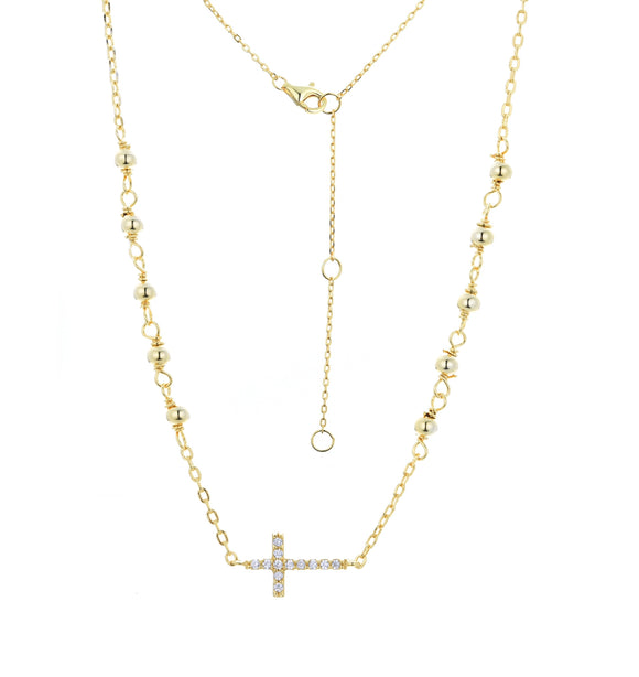 EVA CRYSTAL ROSARY GOLD NECKLACE