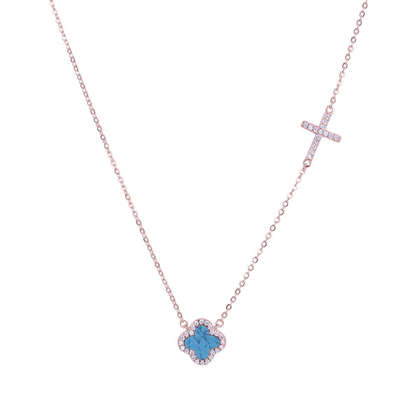 CELINA TURQUOISE CRYSTAL CLOVER AND CROSS ROSE GOLD NECKLACE