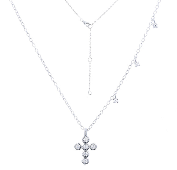 ALINA CRYSTAL MINI CROSS SILVER NECKLACE