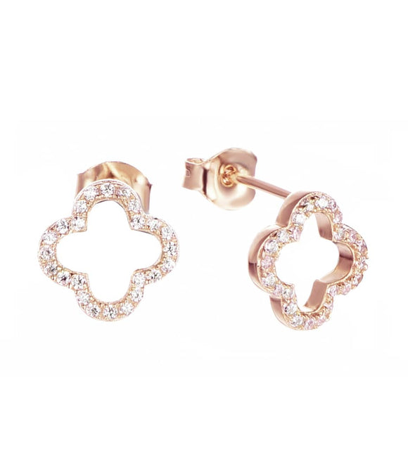 alice lucky clover rose gold studs