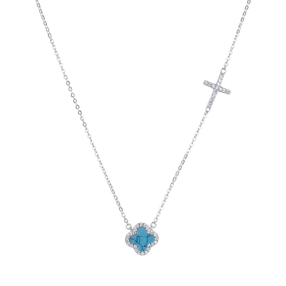 CELINA TURQUOISE CRYSTAL CLOVER AND CROSS SILVER NECKLACE