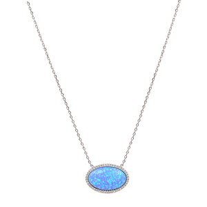 Opal oval silver necklace