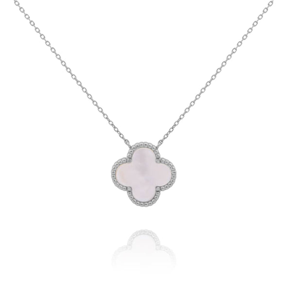 AMARA MOTHER OF PEARL CLOVER SILVER NECKLACE