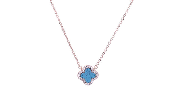 ZOE TURQUOISE CRYSTAL CLOVER ROSE GOLD NECKLACE
