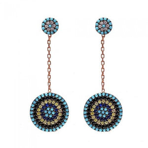 Evil eye turquoise drop earrings