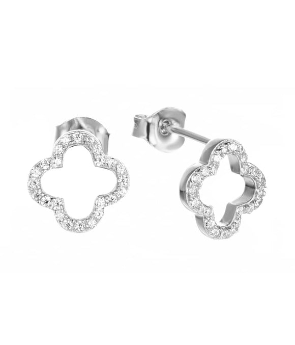 alice lucky clover silver studs