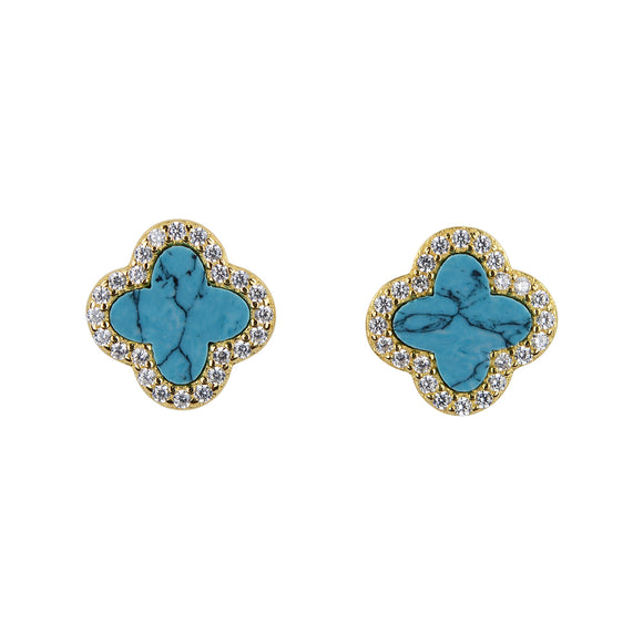 ARABELLA TURQUOISE CRYSTAL CLOVER GOLD EAR STUDS