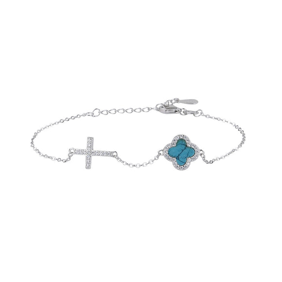 CELINA TURQUOISE CRYSTAL CLOVER AND CROSS SILVER BRACELET