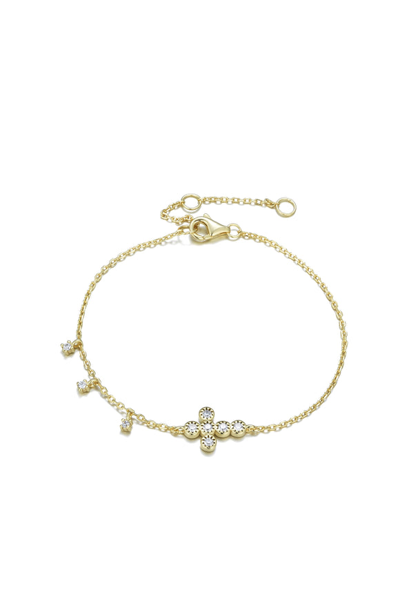 ALINA CRYSTAL MINI CROSS GOLD BRACELET