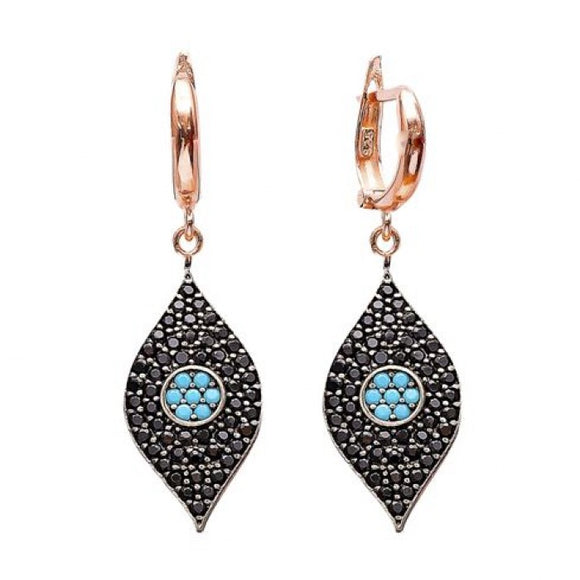 onyx and turquoise evil eye rose gold dangling earrings